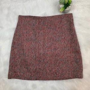 Loft Black Red and White Herringbone Mini Skirt
